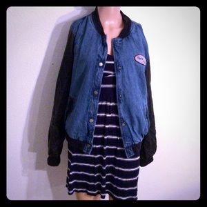 Forever 21 Denim and Faux Leather Bomber Jacket